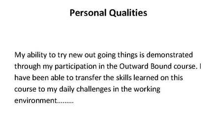 Produce A Targeted Resume   Otago Polytechnic Community Learning Centres  Personal Qualities For Resume
